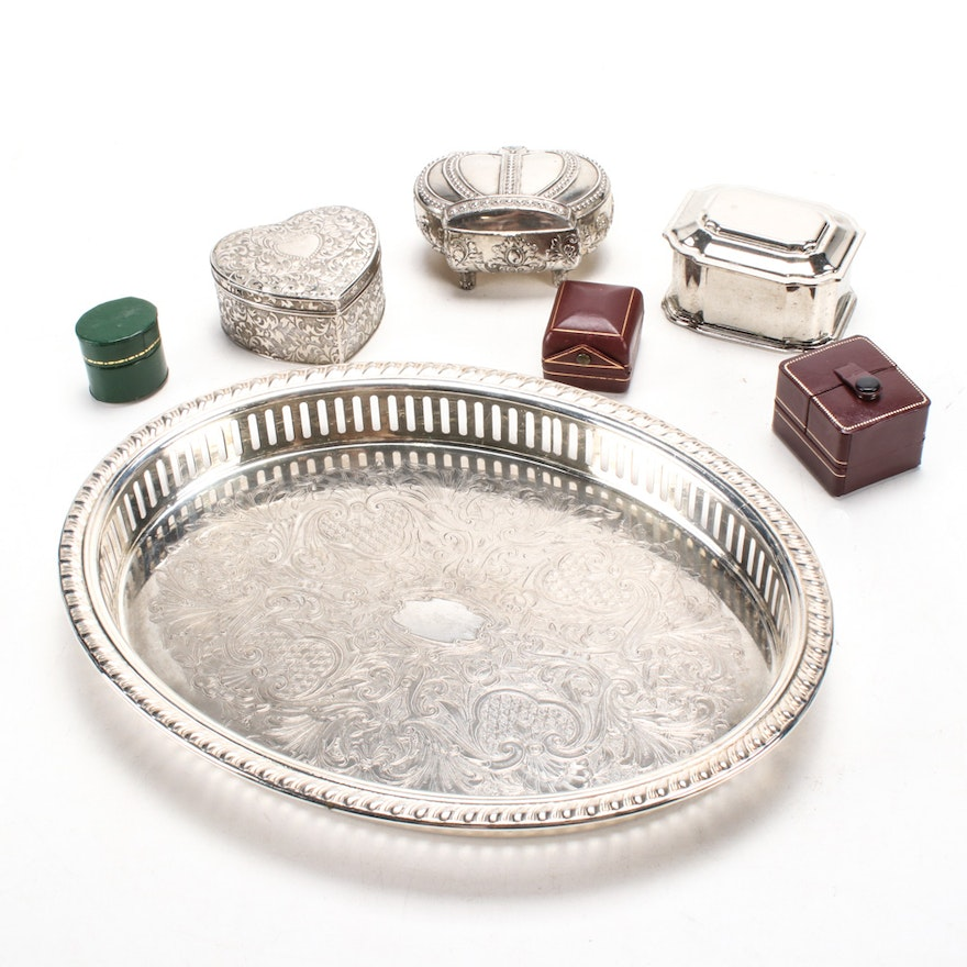 """Eales """"1779"""" Footed Silver Plate Tray with Trinket and Ring Boxes"""
