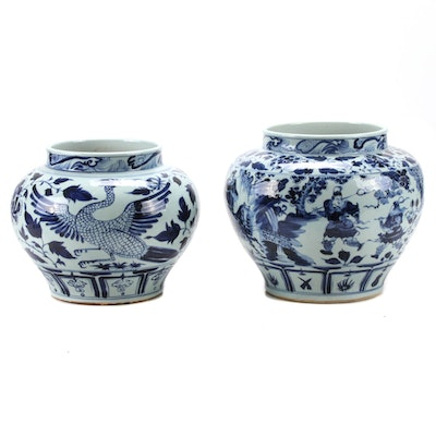 Chinese Blue and White Qinghua Piling Painted Jardinières
