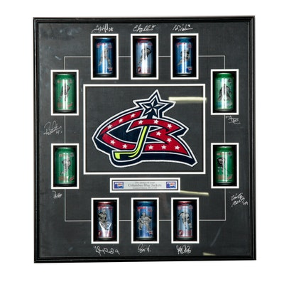 Columbus Blue Jackets Autographed Pepsi Soda Can Shadowbox