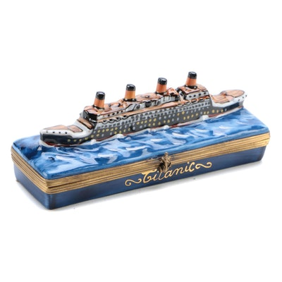 "Gerard Ribierre Hand-Painted Porcelain ""Titanic"" Limoges Box"