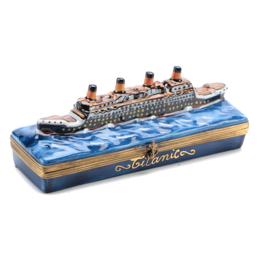 "Gerard Ribierre Hand-Painted Porcelain ""Titanic"" Limoges Box"