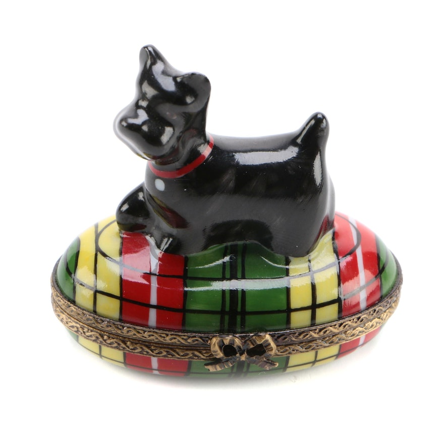 Hand-Painted Porcelain Scottish Terrier Themed Limoges Box