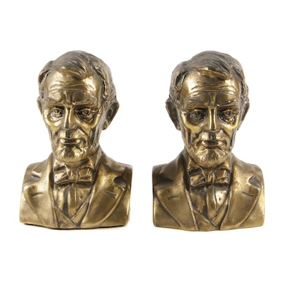 Abraham Lincoln Brass Tone Cast Metal Bookends