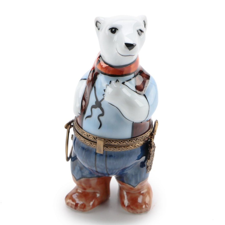 La Gloriette Hand-Painted Porcelain Polar Bear Cowboy Trinket Box