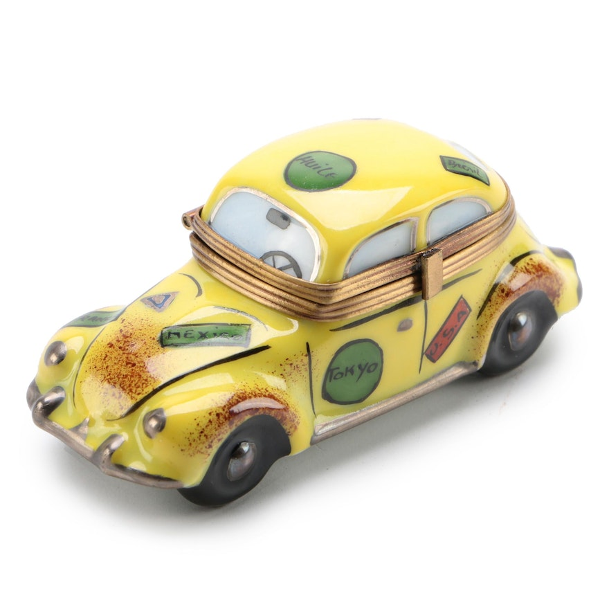 La Gloriette Hand-Painted Porcelain Volkswagon Bug Limoges Box