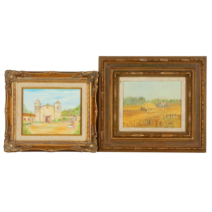 R. A. Hawley Landscape Oil Paintings, Mid to Late 20th Century
