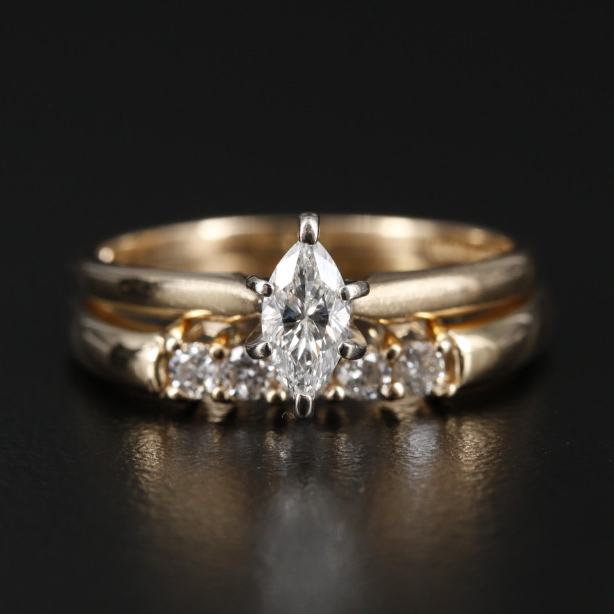 14K Yellow Gold Diamond Solitaire Ring and Band