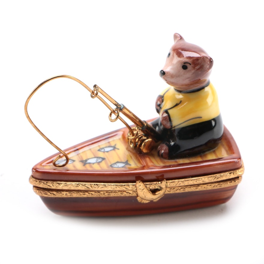 La Gloriette Hand-Painted Porcelain Fishing Bear Limoges Box
