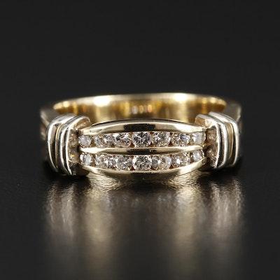 14K Yellow Gold Diamond Cinched Ribbon Band