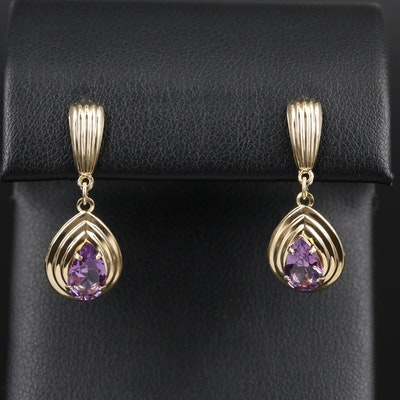 14K Yellow Gold Amethyst Fluted Drop Earrings