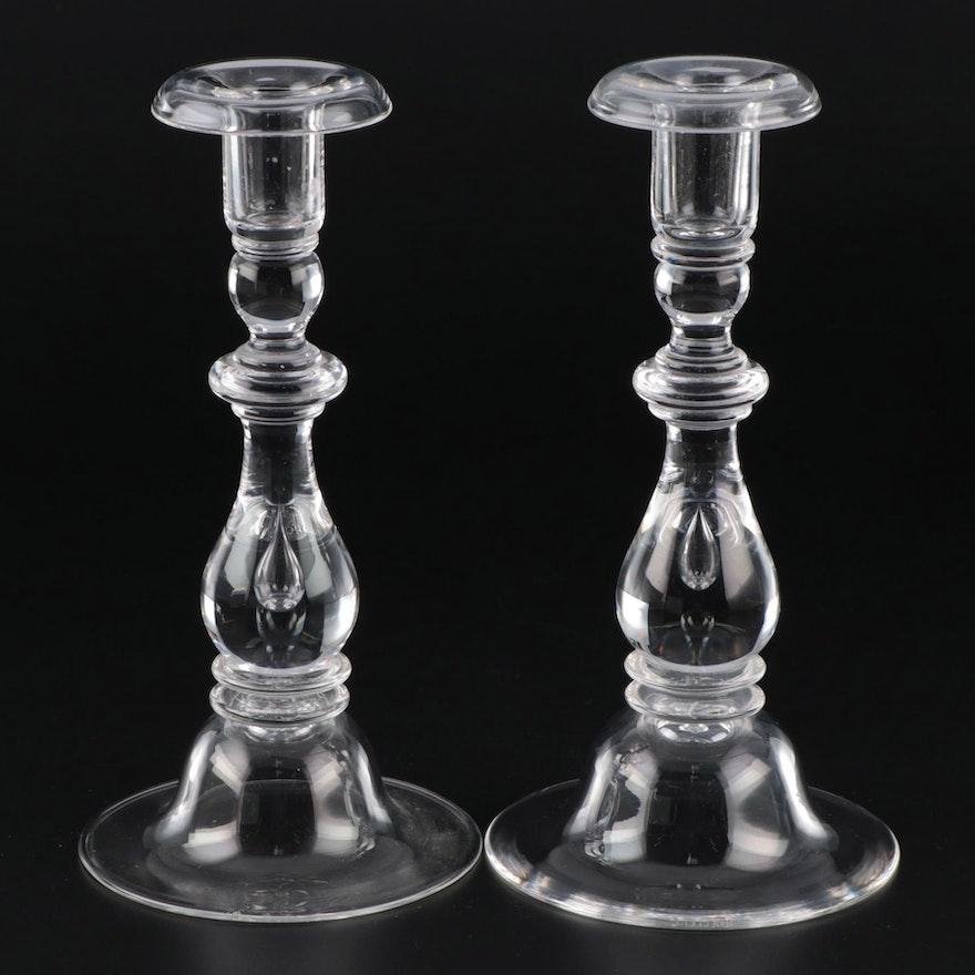 """Steuben Art Glass """"Teardrop"""" Candlesticks"""