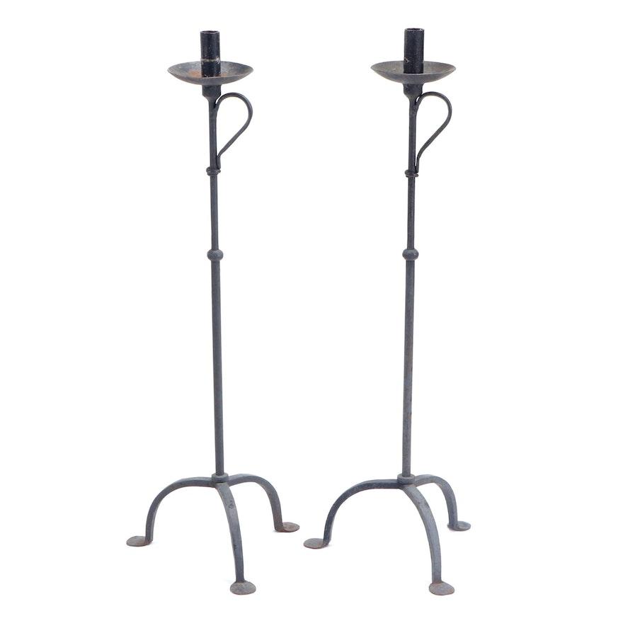 Pair of Wrought Iron Floor Candlesticks