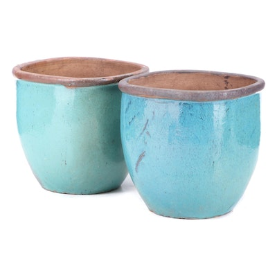 Pair of Glazed Earthenware Planters, Late 20th Century