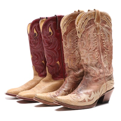 Justin AQHA Remuda Series and Corral Crackle Distressed Leather Western Boots