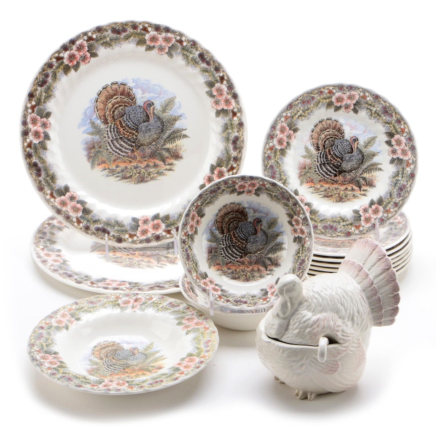 """Queen's and Churchill """"Thanksgiving"""" Dinnerware with Mikasa Turkey Tureen"""