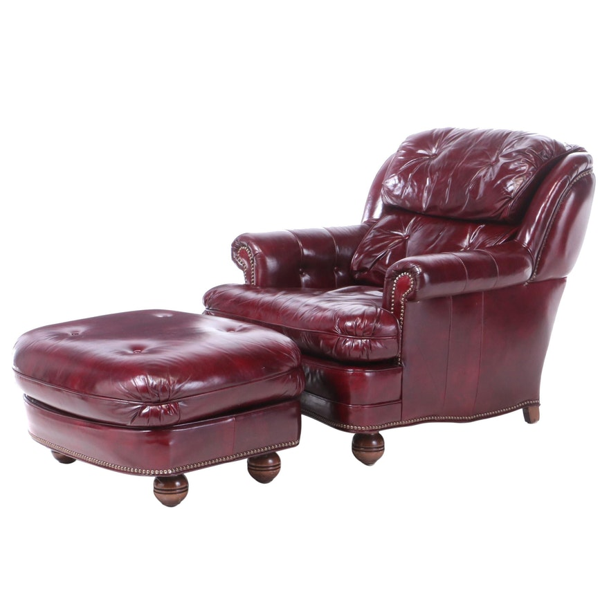 Bonded Leather Armchair and Footstool