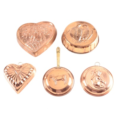 Circular and Heart-Shaped Copper Baking Molds