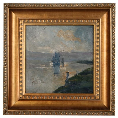 Frans Hens Oil Painting on the River Scheldt, Early 20th Century