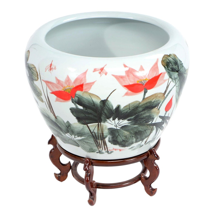 East Asian Ceramic Fishbowl Planter with Marshland Motif and Stand