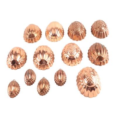 Copper Baking Molds Including Fleur-de-lis and Pineapples