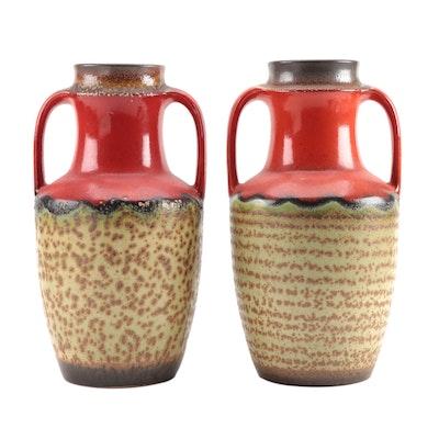 Mid Century Modern Scheurich Urn Style Ceramic Vases