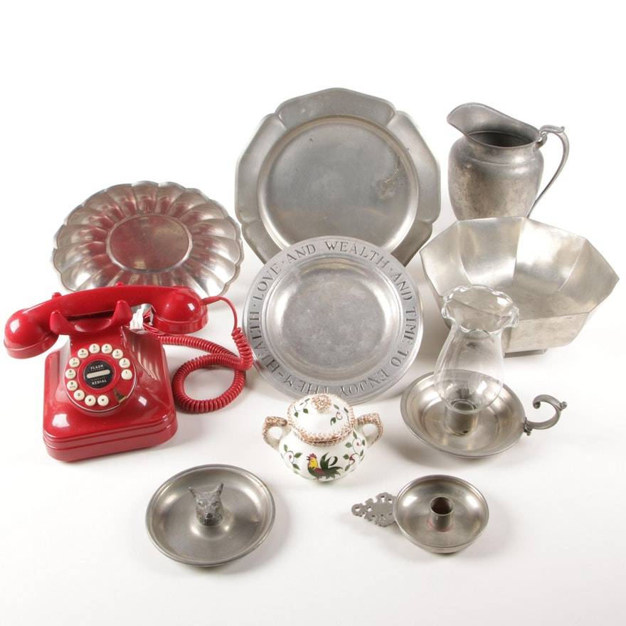 Pewter Chambersticks, Pitcher and Plates with Other Home Décor