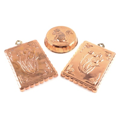 Copper Squirrel and Tulip Baking Molds