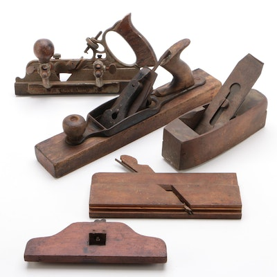 Stanley Rule Wood and Cast Hand Plane Carpenter Tools,  Early 20th Century
