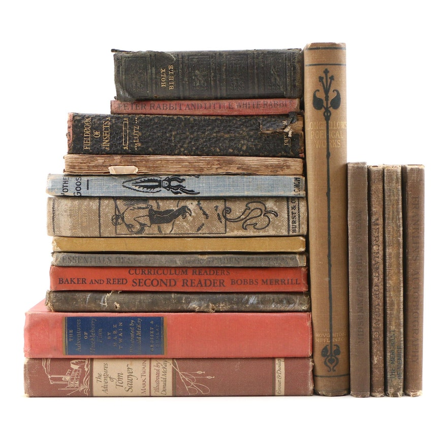 Fiction, Poetry, Nonfiction, and Religion Books Including Longfellow and Twain