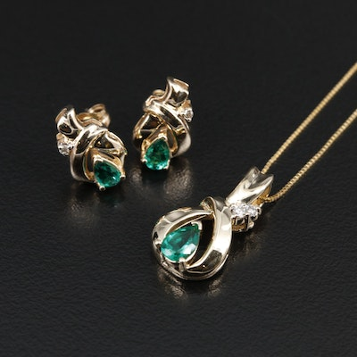 14K Yellow Gold Emerald and Diamond Earrings and Necklace