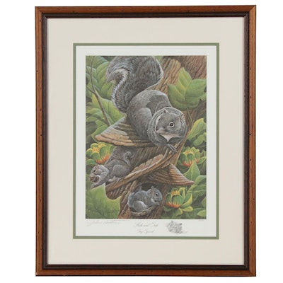 """John Ruthven Offset Lithograph """"Hide and Seek: Gray Squirrel"""""""