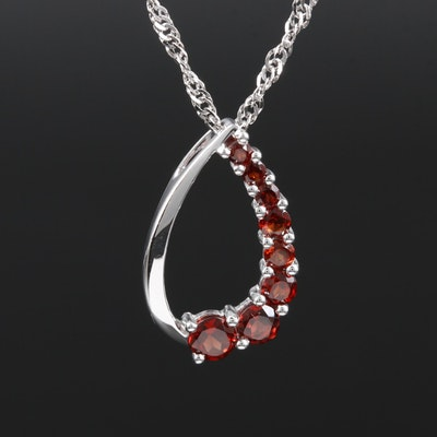 14K White Gold Garnet and Pendant Necklace