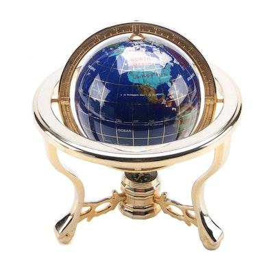Gemstone Inlaid Lapis Resin Desk Globe with Compass