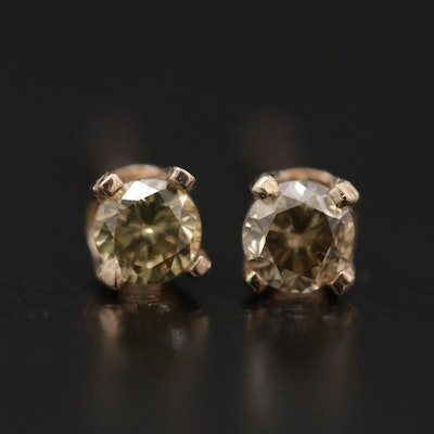 14K Yellow Gold 0.13 CTW Diamond Solitaire Stud Earrings