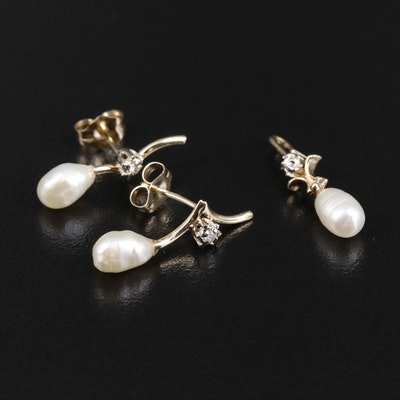 14K Yellow Gold Cultured Pearl and Diamond Pendant and Earrings