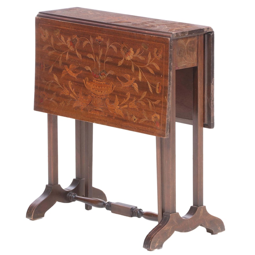 Mahogany and Marquetry Drop-Leaf Side Table