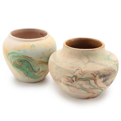 Nemadji Pottery Swirled Marble Glaze Vases, Late 20th Century