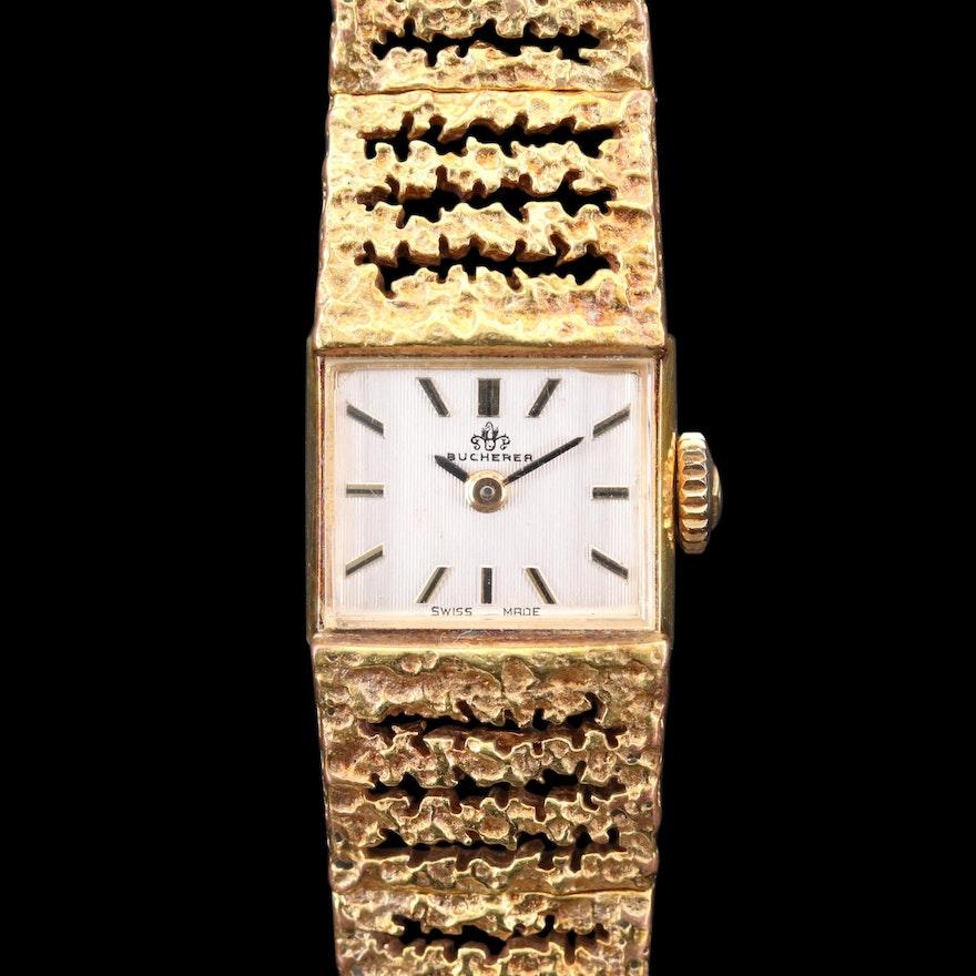 Vintage Bucherer Gold Tone Stem Wind Wristwatch