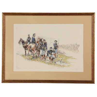 "Hand-colored Offset Lithograph after Isaac Taber ""Telegraphing in the Field"""