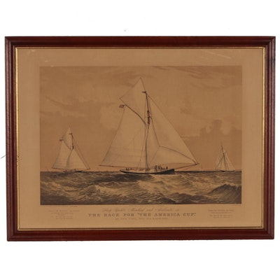 "Currier & Ives Color Lithograph ""The Race for 'The America Cup'"""