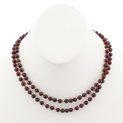 14K Yellow Gold Garnet Endless Hand Knotted Necklace