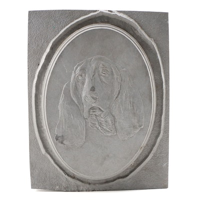 Cast Metal Relief Sculpture of Basset Hound