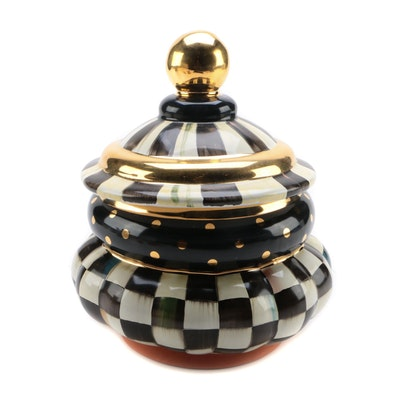 """McKenzie-Childs """"Courtly Check"""" Groovy Canister"""