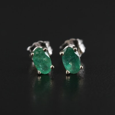 14K White Gold Emerald Stud Earrings