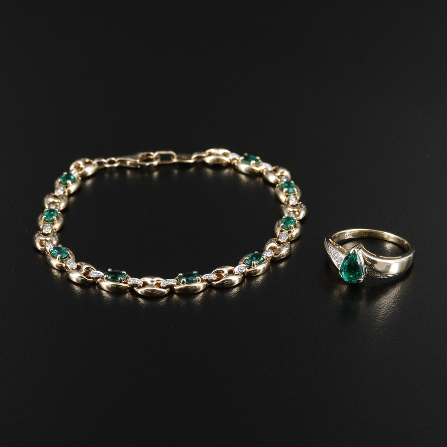 14K Gold Ring and 10K Bracelet with Synthetic Emerald and Diamond