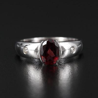 14K White Gold Garnet and Diamond Half Bezel Ring