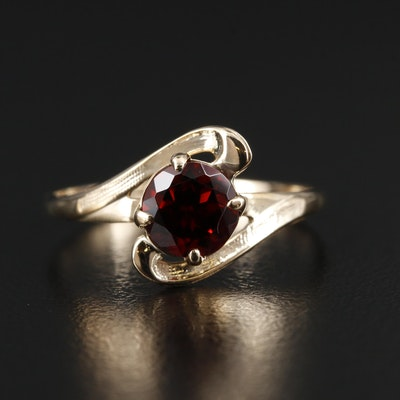 10K Yellow Gold Garnet Scroll Ring with Milgrain Detailing