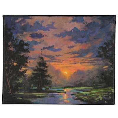 "Douglas ""Bumo"" Johnpeer Landscape Oil Painting ""Sunset Creek"""