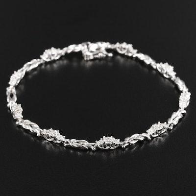 10K White Gold Diamond Knot Link Bracelet