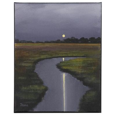 "Douglas ""Bumo"" Johnpeer Oil Painting ""Midnight Marsh"", 2014"